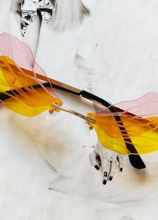 Очки бабочки розовый с жёлтым