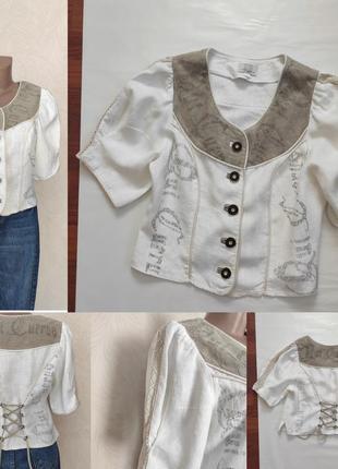 Вінтажна льонова блуза