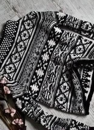 Tally weijl-теплый свитшот,кофта,свитер из стойкой черно-белый,вязка-xs-s-ка