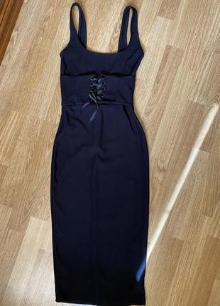 Платье чёрное с корсетом под грудь (в обтяжку, миди)1 фото