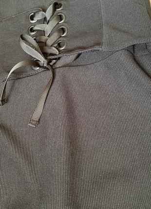 Платье чёрное с корсетом под грудь (в обтяжку, миди)3 фото