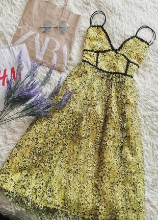 Желтый цветочный кружевной сарафан1 фото