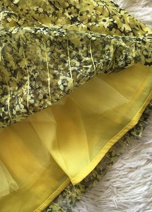 Желтый цветочный кружевной сарафан6 фото