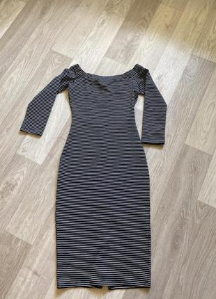Платье миди zara с открытыми плечами