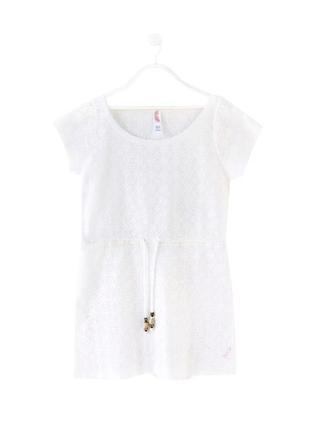 Стильное белое платье из кружева прошвы пляжная накидка jeans club