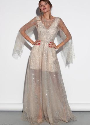 Вечернее (свадебное) воздушное мерцающее платье-сетка