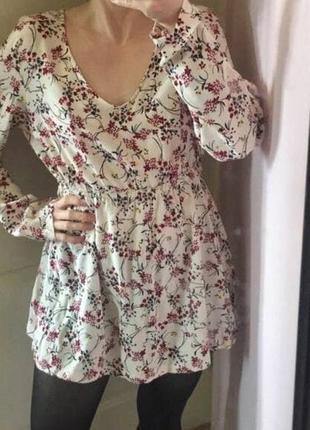 Мини платье, цветочное, свободное, вискоза, летнее
