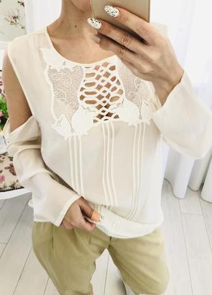 Блузка из натурального шёлка с кружевом