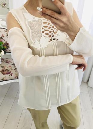 Блузка из натурального шёлка с кружевом2 фото