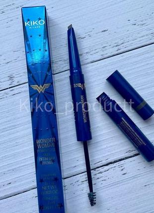 Олівець для брів та фіксуючий гель kiko ww power last duo define&fix brows