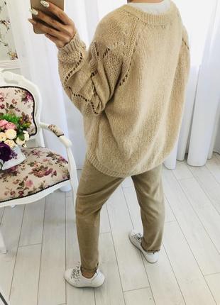 Бежевый свитер с содержанием мохера2 фото