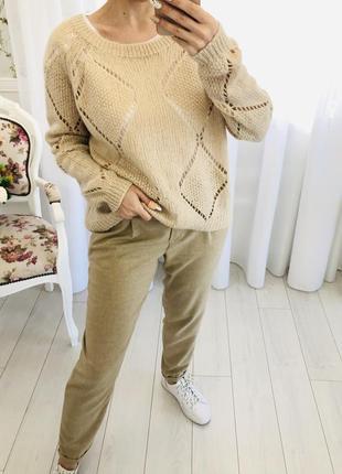 Бежевый свитер с содержанием мохера3 фото