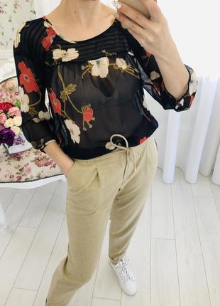 Lauren conrad шифоновая рубашка блузка в цветочный принт6 фото