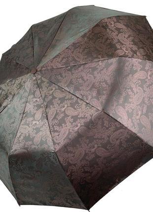 """Качественный зонт с жаккардовым куполом """"хамелеон"""" от flagman, коричневый"""