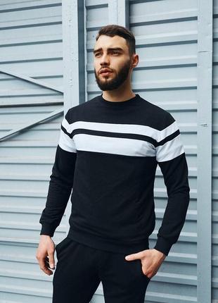 Мужской свитшот (кофта) черный с белым весенний/летний молодежный приталенный