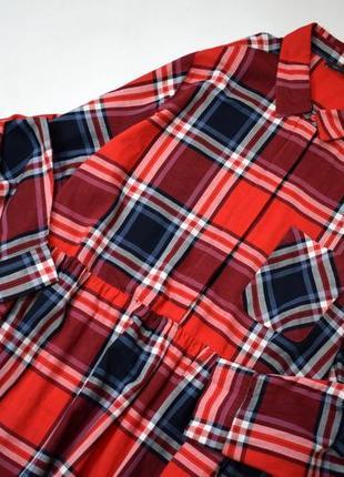 Червоне котонове плаття міді в клітинку3 фото