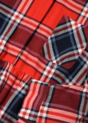 Червоне котонове плаття міді в клітинку5 фото