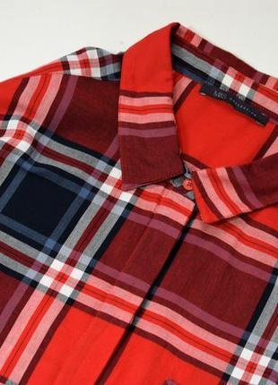 Червоне котонове плаття міді в клітинку4 фото