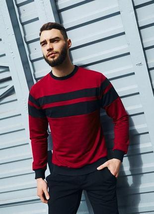 Мужской бордовый свитшот с черной полоской весенний/летний приталенный прогулочный