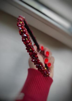 Обруч из бусин, ободок с красными бусинами, украшения на выпускной, ободок