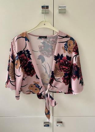 Boohoo сатиновый топ крот топ укороченный топ-блуза 1+1=3