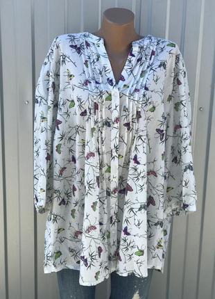 Легкая блузка в очень большом размере коттон