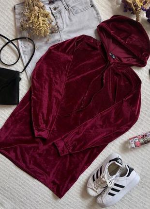 Бархатная удлинённая кофта свободного кроя в бордовом цвете