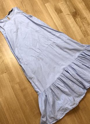 Голубое нарядное платье трапеция zara