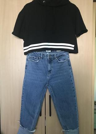 Молодіжні джинси від only з високою посадкою (топ в подарунок).