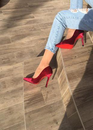 Туфли-лодочки/марсала туфли/средний каблук/женские туфли/красные туфли