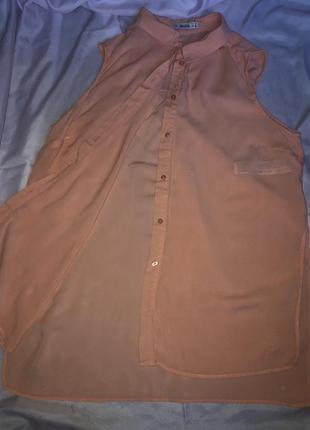 Рубашка без рукавов персикового цвета
