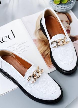 Шикарные женские кожаные белые туфли лоферы слипоны