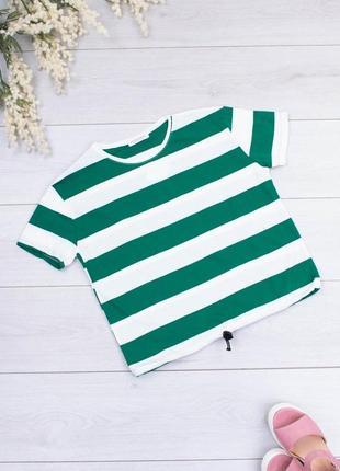 Женская бело-зеленая футболка в полоску