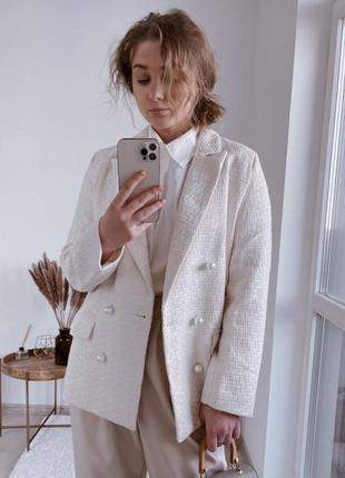 Пиджак женский,твидовый пиджак , двубортный блейзер
