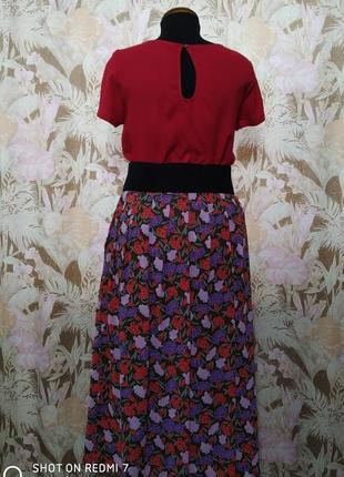 Bickler. винтажная летняя юбка в цветах.2 фото