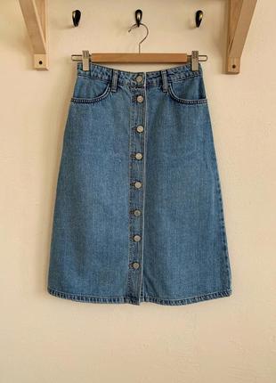 Джинсовая юбка миди topshop