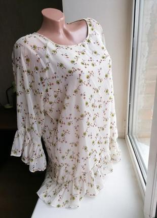 Блузка рюши воланы рукава клеш принт рисунок цветы шампань george 16р (к043)