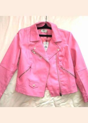 Акция кожаная куртка кожанка розовая косуха эко-кожа