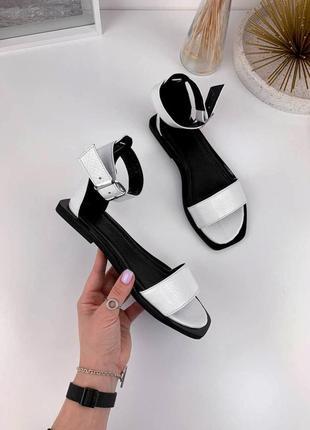 Белые кожаные босоножки | босоніжки 👡