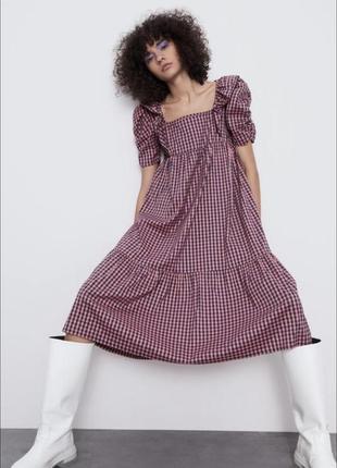 Zara платье сарафан в клетку рукава воланы новое s