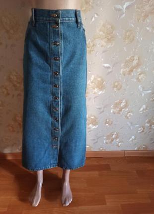 Джинсовая длинная юбка