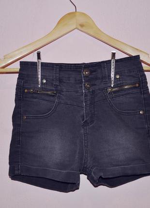 Шорты джинсовые короткие черные