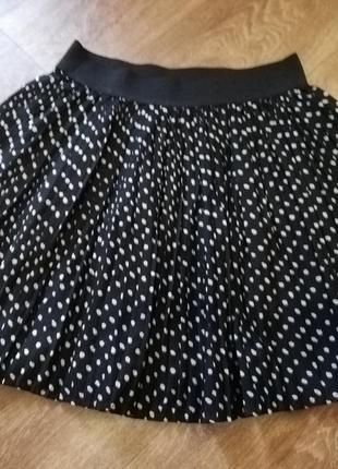 Юбка женская в горошек плиссеровка короткая пышная чёрная