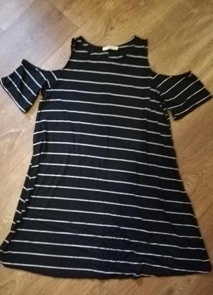 Платье летнее сарафан в полоску чёрное открытый рукав свободное женское