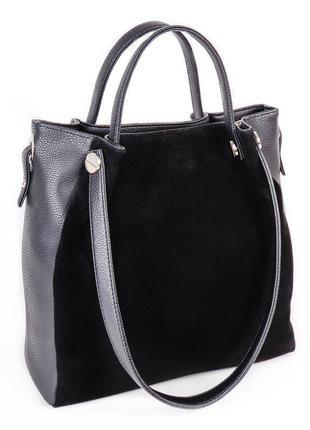 Замшевая черная женская сумка шоппер с оригинальными ручками