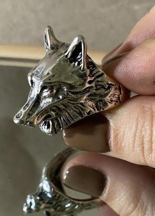 Массивное кольцо панк, кольцо гранж, кольцо с волком