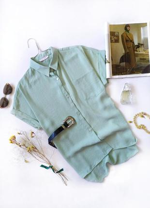 Рубашка оверсайз с коротким рукавом мятная фисташковая