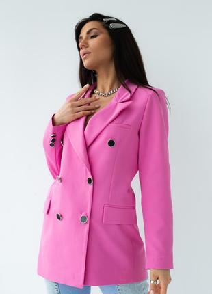 Яркий розовый пиджак жакет двубортный over size5 фото