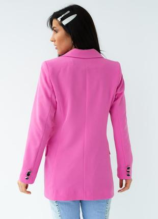 Яркий розовый пиджак жакет двубортный over size6 фото