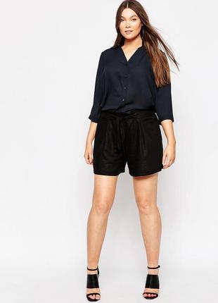 Черные шорты с поясом высокая талия